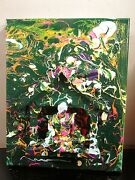 Original Abstract Painting Sign Mixed Media By Artist Muskyai 8x10 Ready To Hang