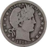 1916 D Barber Quarter Ag About Good 90 Silver 25c Us Type Coin Collectible