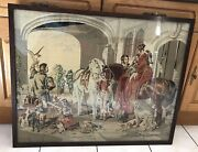 Vintage Antique The Hawking Party Petit Point Needlework Needlepoint Embroidery