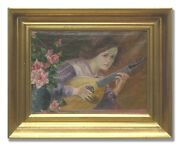 Musician With Lute - Original Art Oil Painting From The 1920andacutes