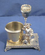 Vtg Antique Victorian Silverplate Figural Match Holder And Cigar Cutter Tufts