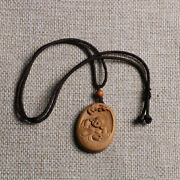Tj164ca - 4x3x0.6 Cm Hand Carved Rosewood Carving Netsuke Buddha Necklace