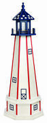 Patriotic Lighthouse - Working White W/ Red Stripes And Stars Blue Top Amish Usa