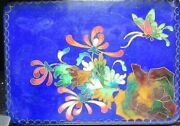 Large Royal Blue Cloisonne Ginbari Butterfly Floral Enamel Humidor Box