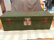 Vintage 19 Long Union Leroy Ny Usa Utility Chest Green Metal Toolbox W/tray