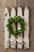 Newprimitive Welcome Fence Sign With Wreathcountry Chic Shabbyweathered Wall