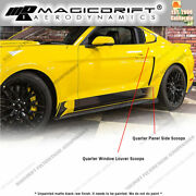 For 15-19 Ford Mustang Quarter Panel Side Scoops + Window Louver Cover Body Kit