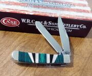Case Xx New Exotic Green Malachite Handle 2 Blade Tiny Trapper Knife/knives
