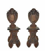 Pair Of Carved Antique Italian Renaissance Revival Side Chairs