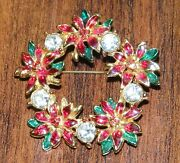 Christmas Poinsettia Wreath Holiday Collectible Costume Jewelry Brooch Pin