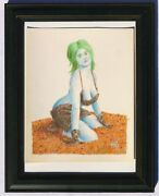 Space Bimbo Sci-fi Fantasy Drawing Of A Woman With Green Hair And Animal Skins.
