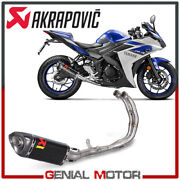 Full System Exhaust Carbon Akrapovic Racing Line For Yamaha Yzf-r3 2015 2020