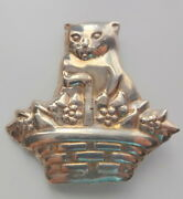 Vtg Sterling Silver Kitty Cat In The Basket W Flowers Rare Pin Brooch
