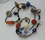 Antique Chinese Shou Sea Glass Jade African Trade Beads Hand Carved Necklace