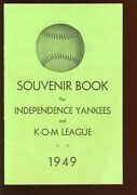 Original 1949 Minor League Independence Yankees 6x9 Yearbook With Mickey Mantle