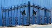 On Sale Inc Post Package Steel Driveway Gate 14and039 Wide Living Home Security