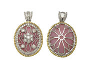18k Gold Opal Diamond Antique Finish Pendant Natural Oval Two Tone Womens 1.63ct