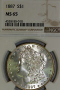 Light Gold Toned 1887-p Morgan Silver Dollar That Pcgs Graded Ms65 -4528185-010