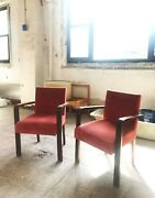 4 Red Vintage Bentwood Arm Chairs