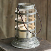 Baileys Harbor Galvanized Metal And Glass Lantern For Pillar And Votive Candles