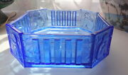 Antique 30s Art Deco French Bohemian Blue Panel Glass Cameo Nude Girl Dish Vase