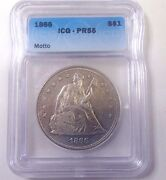 1866 Seated Liberty Dollar Icg-pr55 Very Nice Certified Coin
