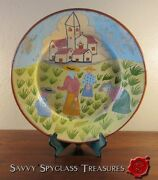 Vintage Redware Pottery Charger Faience California Missions