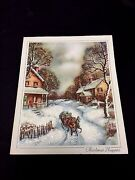 Vintage Unused Glitter Xmas Greeting Card Shoppers On A 2 Horse Open Sleigh Ride