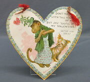 1903 Tuck Outcault Paper Hanging Valentine Heart Dressed Monkey In Hat And Dog