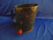 Antique Flour Sifter Metal Bromwells Measuring Hand Crank Holds Up To 5 Cups
