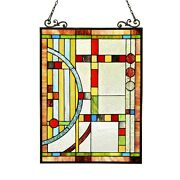 Stained Cut Glass Style Window Panel Contemporary Design 17.5 X 25