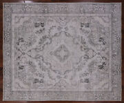 9and039 7 X 11and039 6 Vintage White Wash Hand Knotted Wool Rug - Q1968