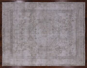 8and039 3 X 10and039 6 Vintage Hand Knotted Wool White Wash Area Rug - Q1952