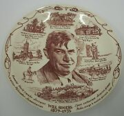 Vintage Will Rogers Collector Plate 10.5 Vernon Kilns