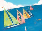 Oopsy Daisy Sailing Regatta Stretched Canvas Art By Jenney Kostecki-shaw 4030