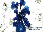Vintage Italy Cobalt Blue Mouth Blown Glass Vase Morning Glory Flowers Grapes