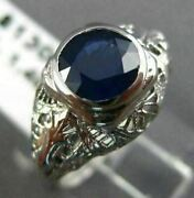 Antique 1.43ct Aaa Sapphire 14k White Gold 3d Solitaire Filigree Fun Ring 17356