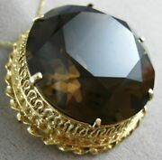 Antique Extra Large 150ct Smokey Topaz 14kt Yellow Gold 3d Brooch Pendant 21679