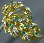 Antique Large Diamond And Aaa Emerald 18kt Two Tone Gold Flower Pin Brooch 20380