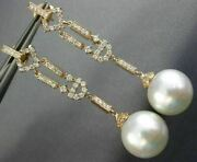 Estate Long .76ct Diamond And Aaa South Sea Pearl 18kt Rose Gold Hanging Earrings