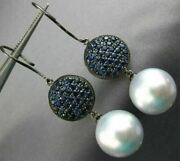 Extra Large 3.6ct Aaa Sapphire And South Sea Pearl 18k Black Gold Hanging Earrings
