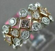 Estate Wide 1.41ct White And Pink Diamond 18k 2 Tone Gold Classic Anniversary Ring