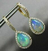 Large 4.56ct Diamond And Aaa Australian Opal 14kt Yellow Gold 3d Hanging Earrings