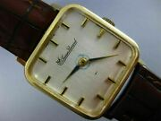 Antique Lucien Piccard 14kt Yellow Gold Classic Square Leather Mens Watch 2080