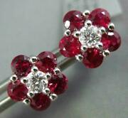 Estate 1.83ct Diamond And Aaa Ruby 18kt White Gold 3d Classic Flower Stud Earrings