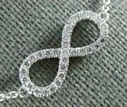 Estate .40ct Diamond 18kt White Gold 3d Classic Infinity Love Necklace
