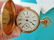Illinois 14k Gold Engraved Hunting Case 1894 6s 11 Jewels Pocket Watch Mint