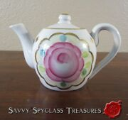 Vintage Russian Porcelain Dulyovo Roses And Gold Individual Teapot