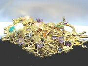 Hand Made 14k Enameled Birds Nest Brooch Pin Gemstones And Coral Appraise 8500