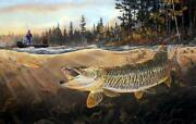 Terry Doughty Muskie Bay Fishing Signed And Numbered Art Print 25 X 16.5